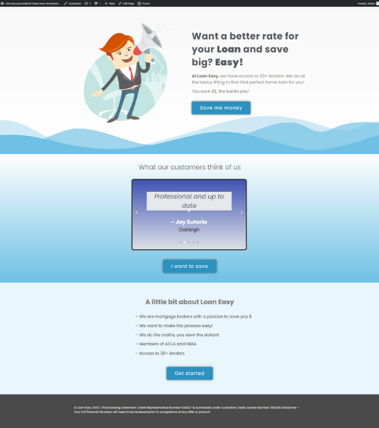 Get A Loan Landing Page